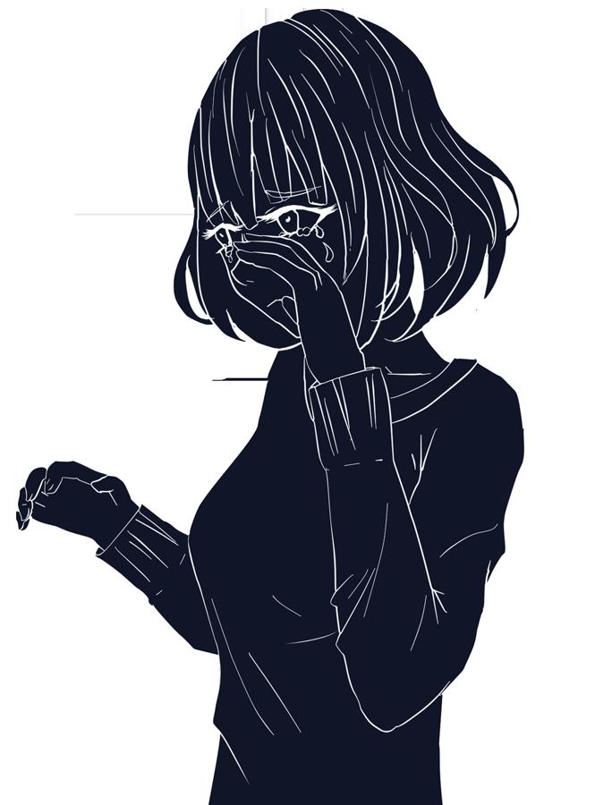 悲しい人のシルエット挿絵(女)