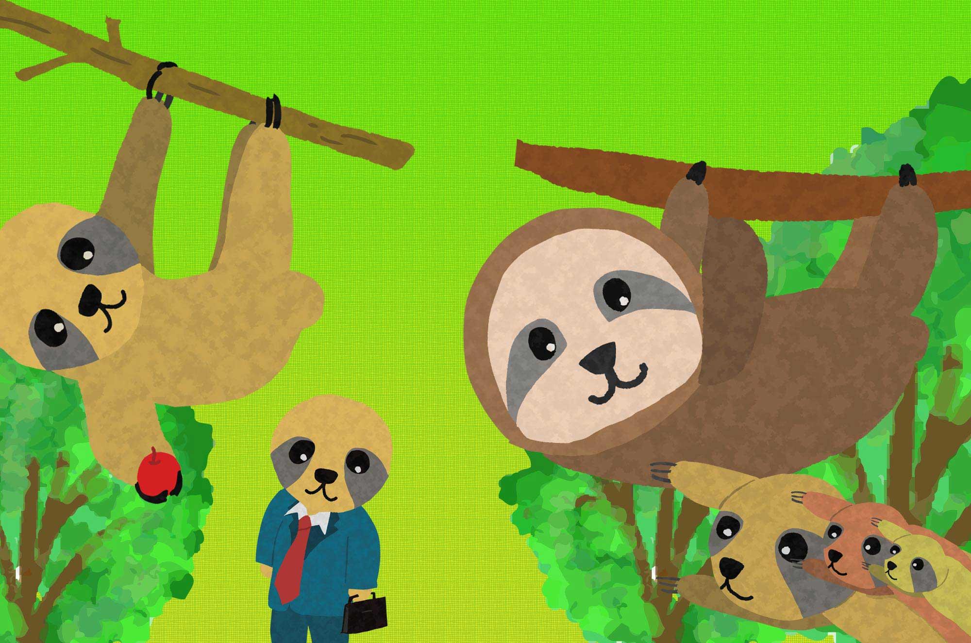 可愛いナマケモノのイラスト - 面白い動物無料素材