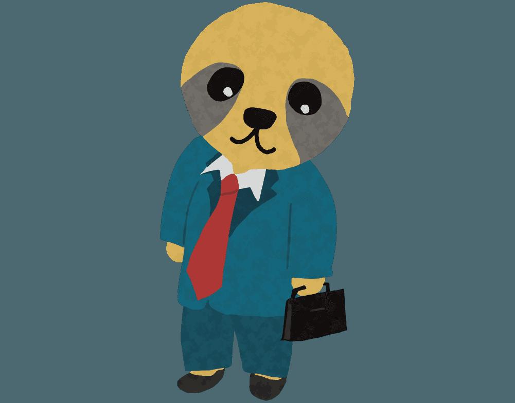 スーツを着た働き者ののナマケモノのイラスト