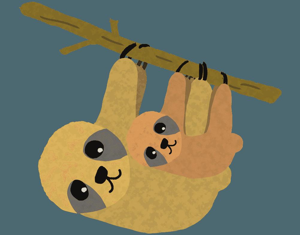 親子でぶら下がる可愛いナマケモノのイラスト