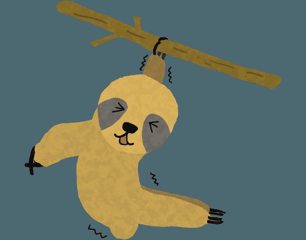 落ちそうになっているナマケモノのイラスト