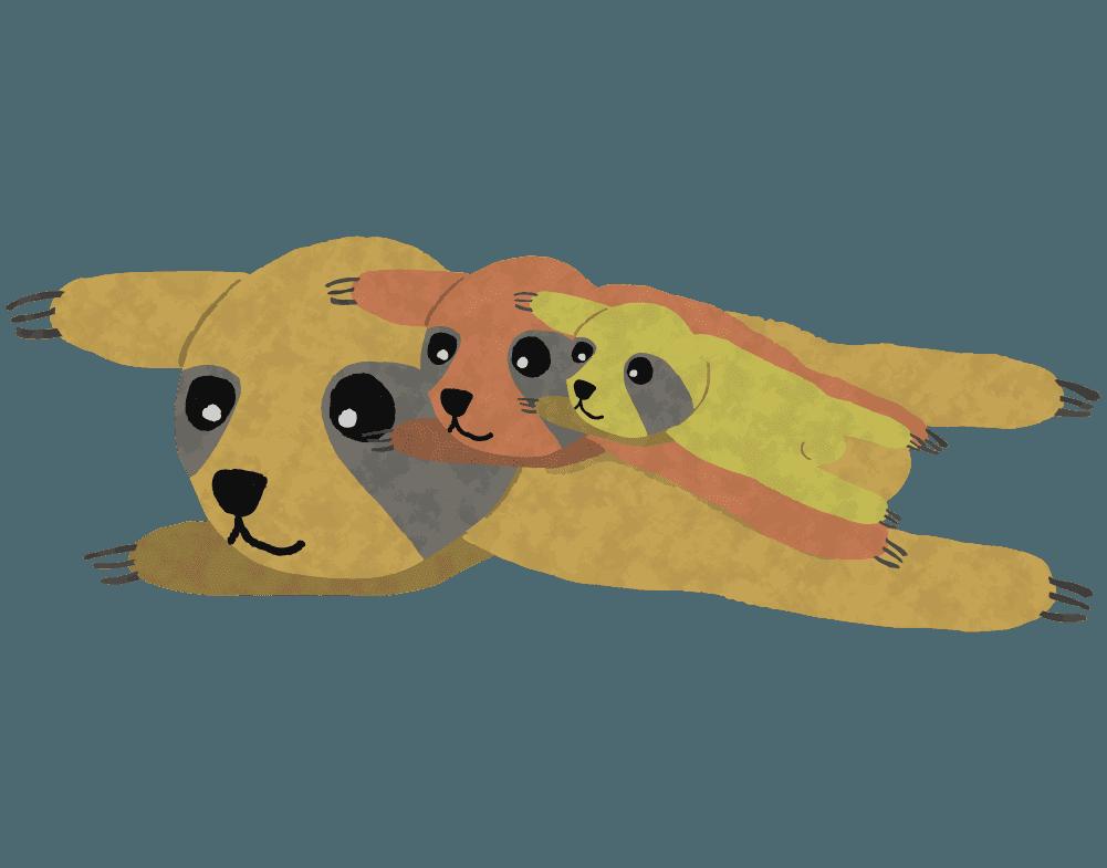 ナだるそうなナマケモノ親子のイラスト