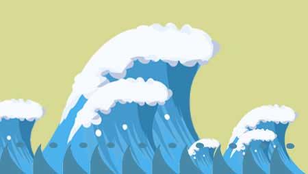 波イラスト - 荒々しい海の無料素材★ベクターアイテムも