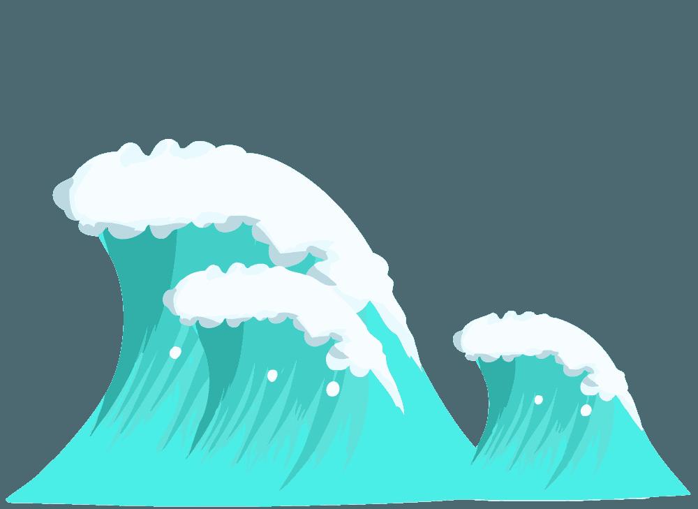 親子の波イラスト