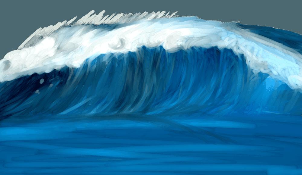 水彩風の波のイラスト