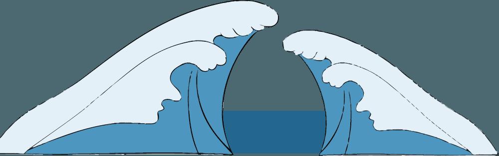 ぶつかり合う波イラスト