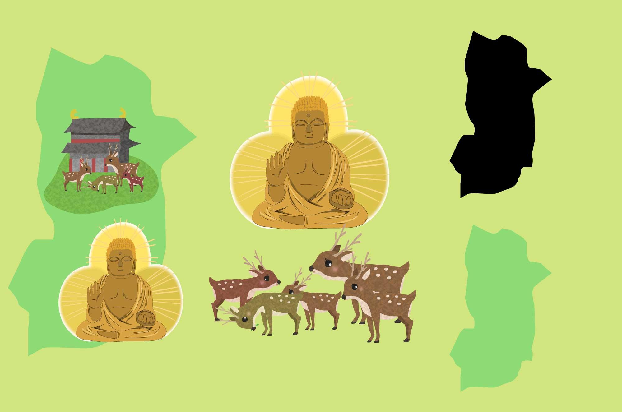 奈良の無料イラスト - 鹿と大仏・地域のフリー素材