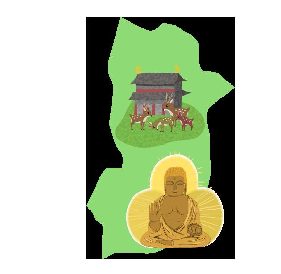 奈良と大陸のイラスト