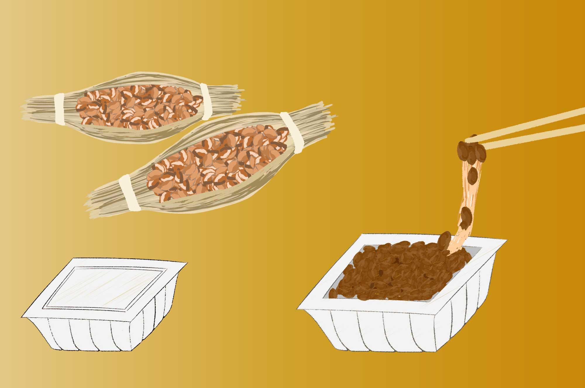 納豆の無料イラスト - パックに入った定番おかず素材