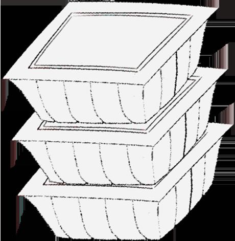 納豆3パックセットのイラスト