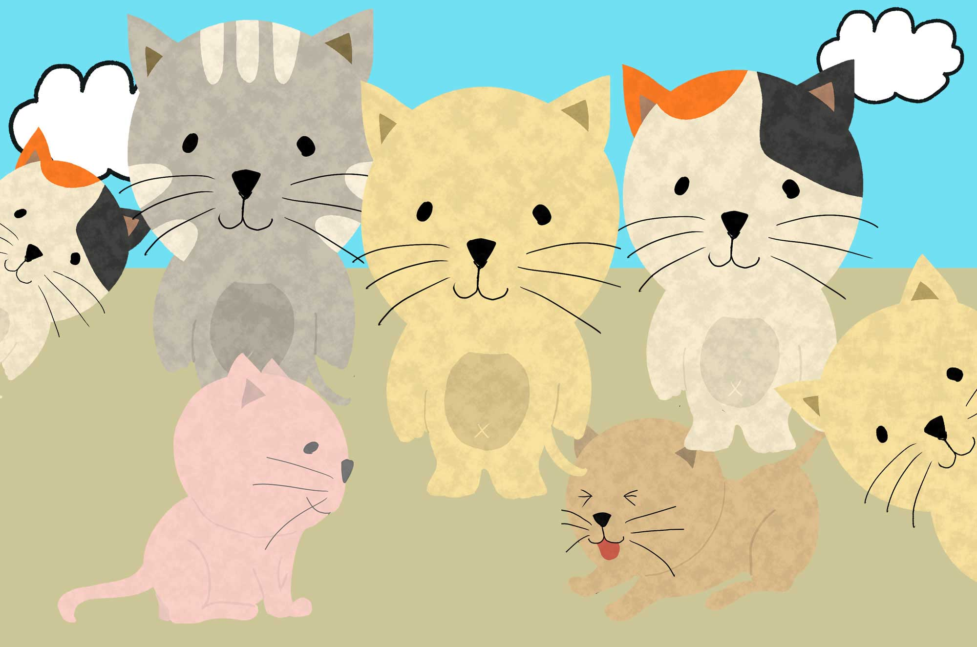 かわいい猫のイラスト - 笑う・怒る・悲しいおもしろ素材
