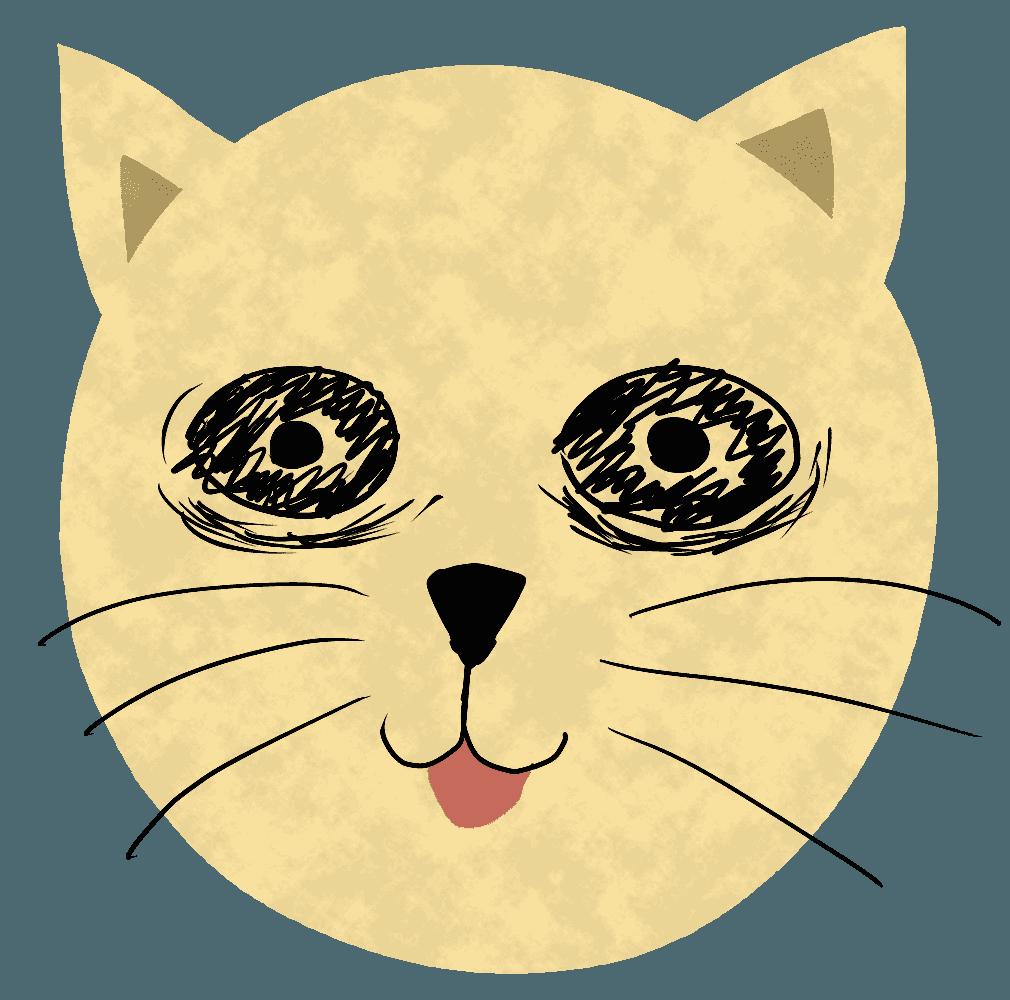 目のまわりにくまがある猫イラスト