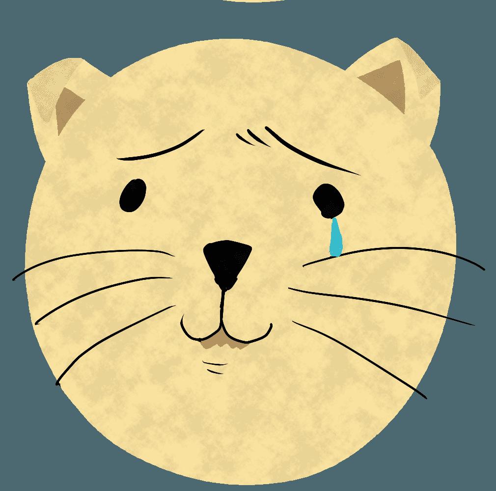 泣いている猫イラスト