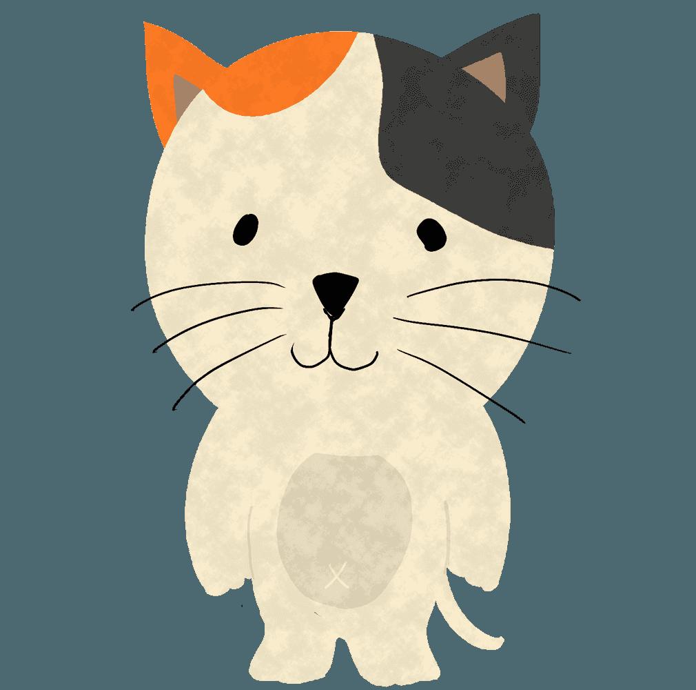 立っている三毛猫イラスト