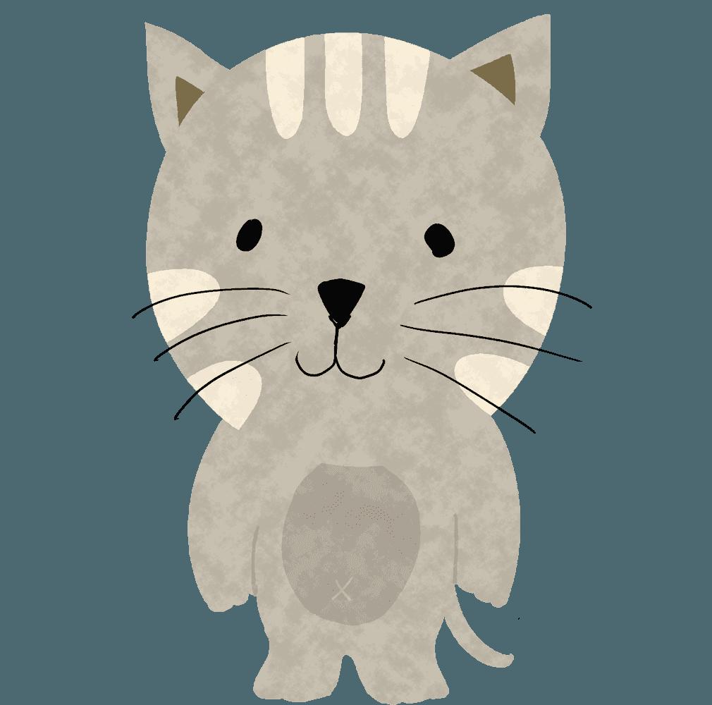 立っているトラ猫イラスト