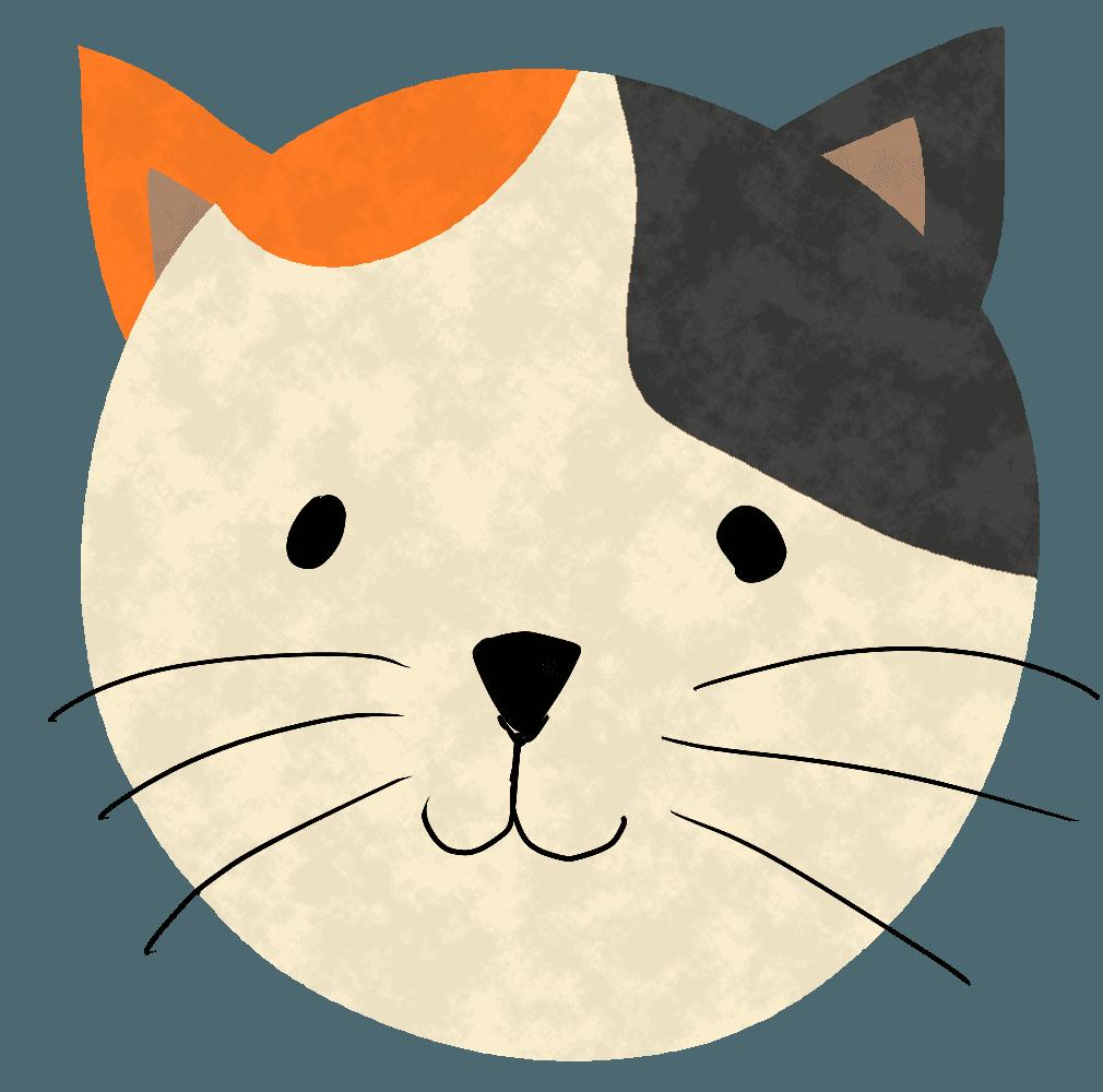 かわいい三毛猫の顔イラスト
