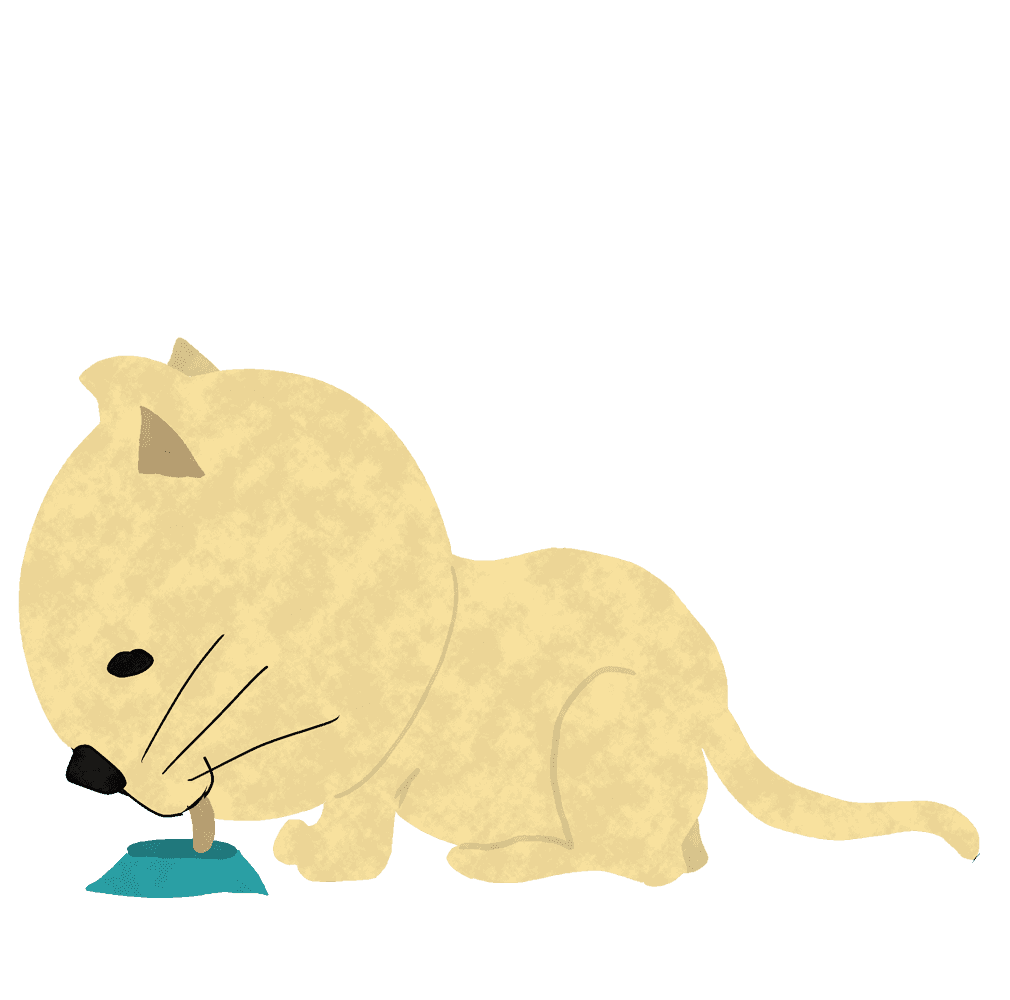 えさを食べる猫イラスト