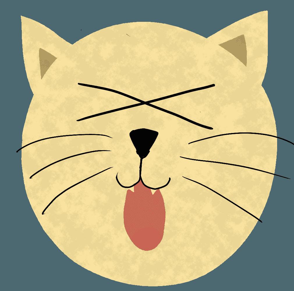 やられたぁ〜の顔の猫イラスト