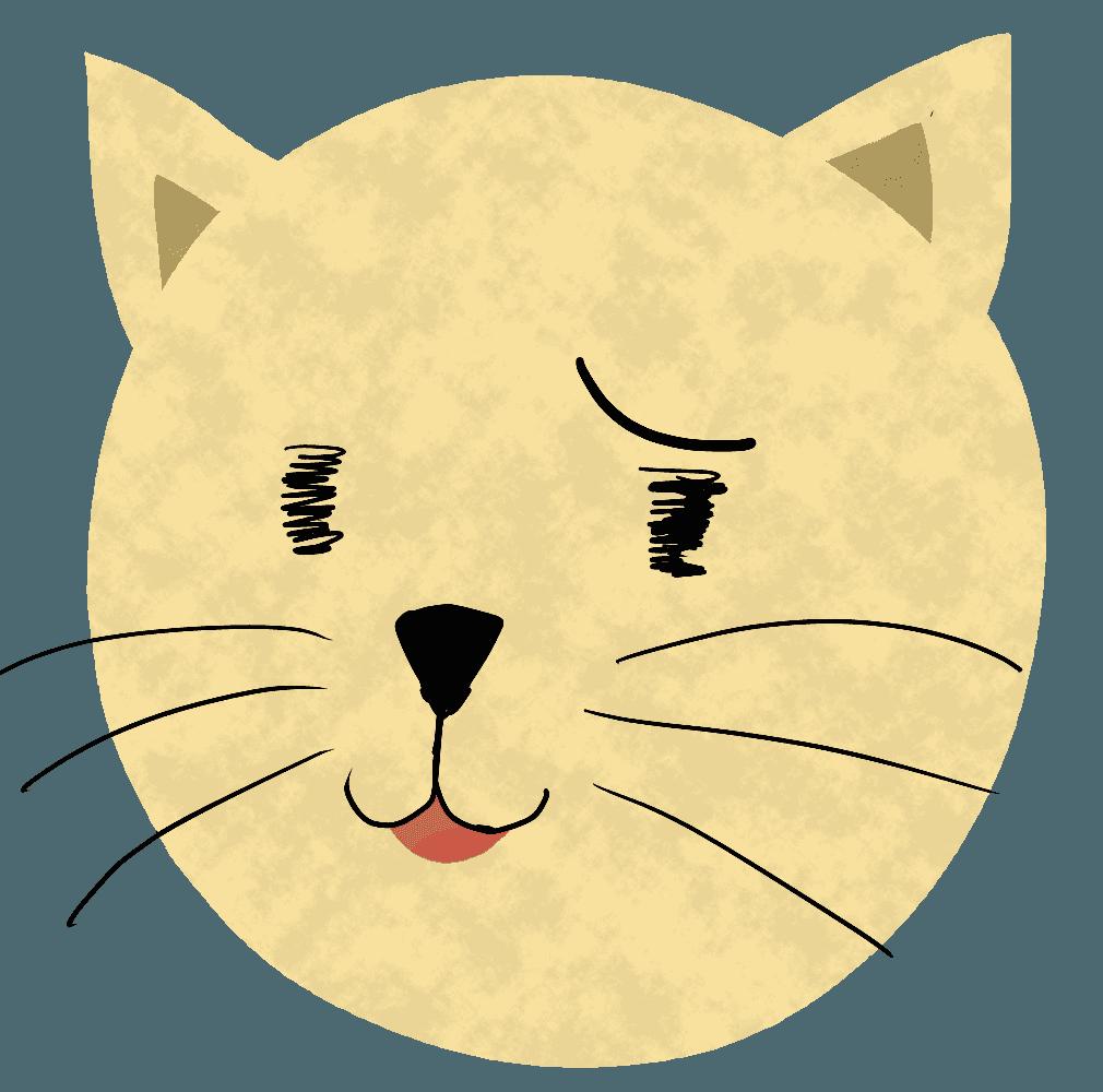 とぼける猫の顔イラスト