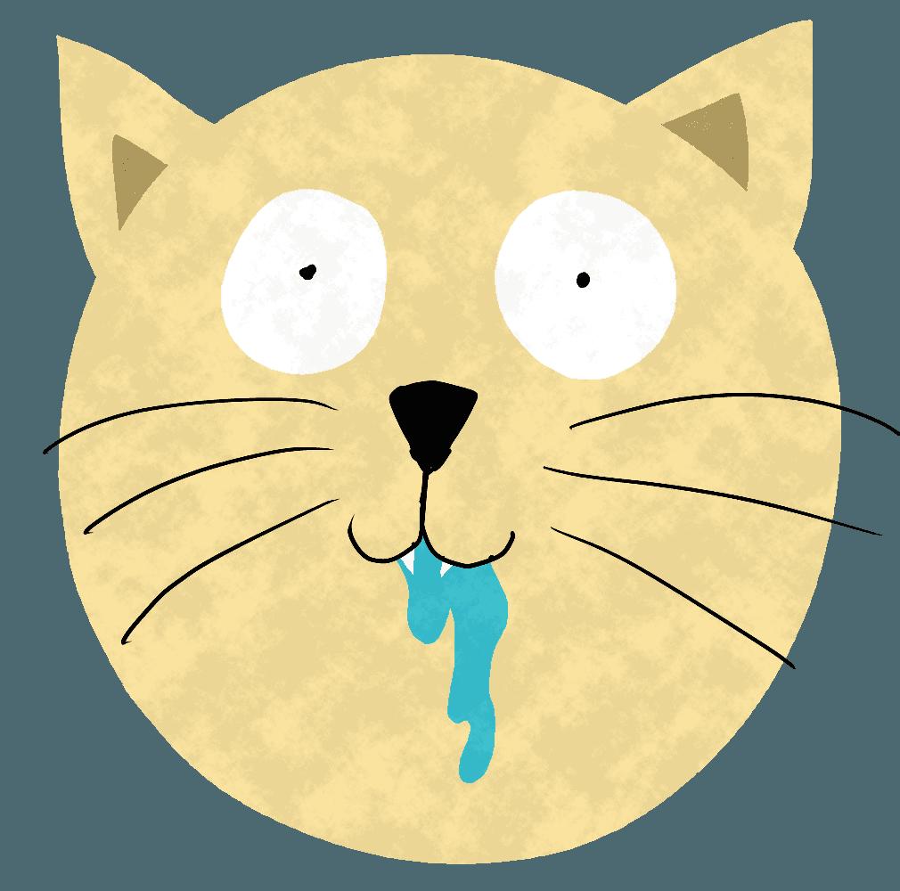 よだれを垂らす猫イラスト