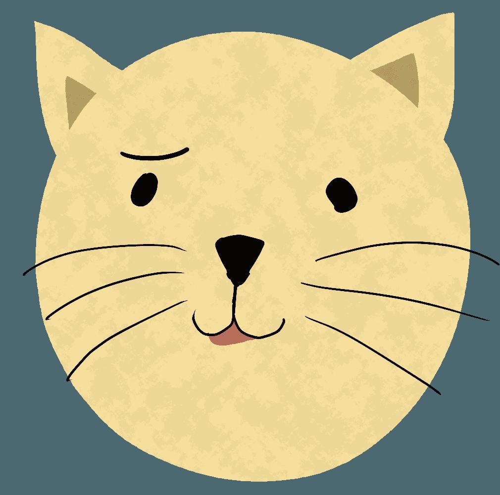フーンという表情の猫イラスト