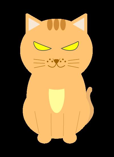 目を光らせる猫のイラスト