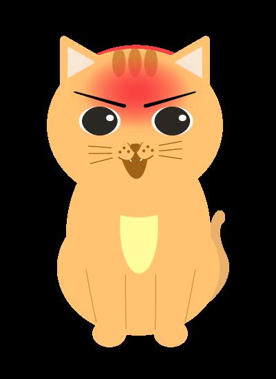 顔を赤らめる猫のイラスト