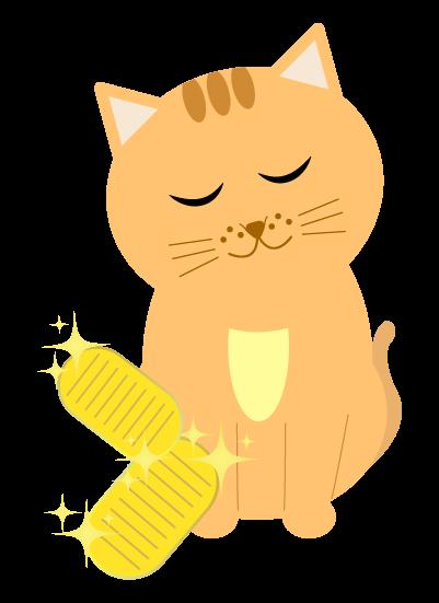 猫に小判のイラスト