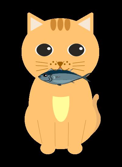 魚をくわえた猫のイラスト