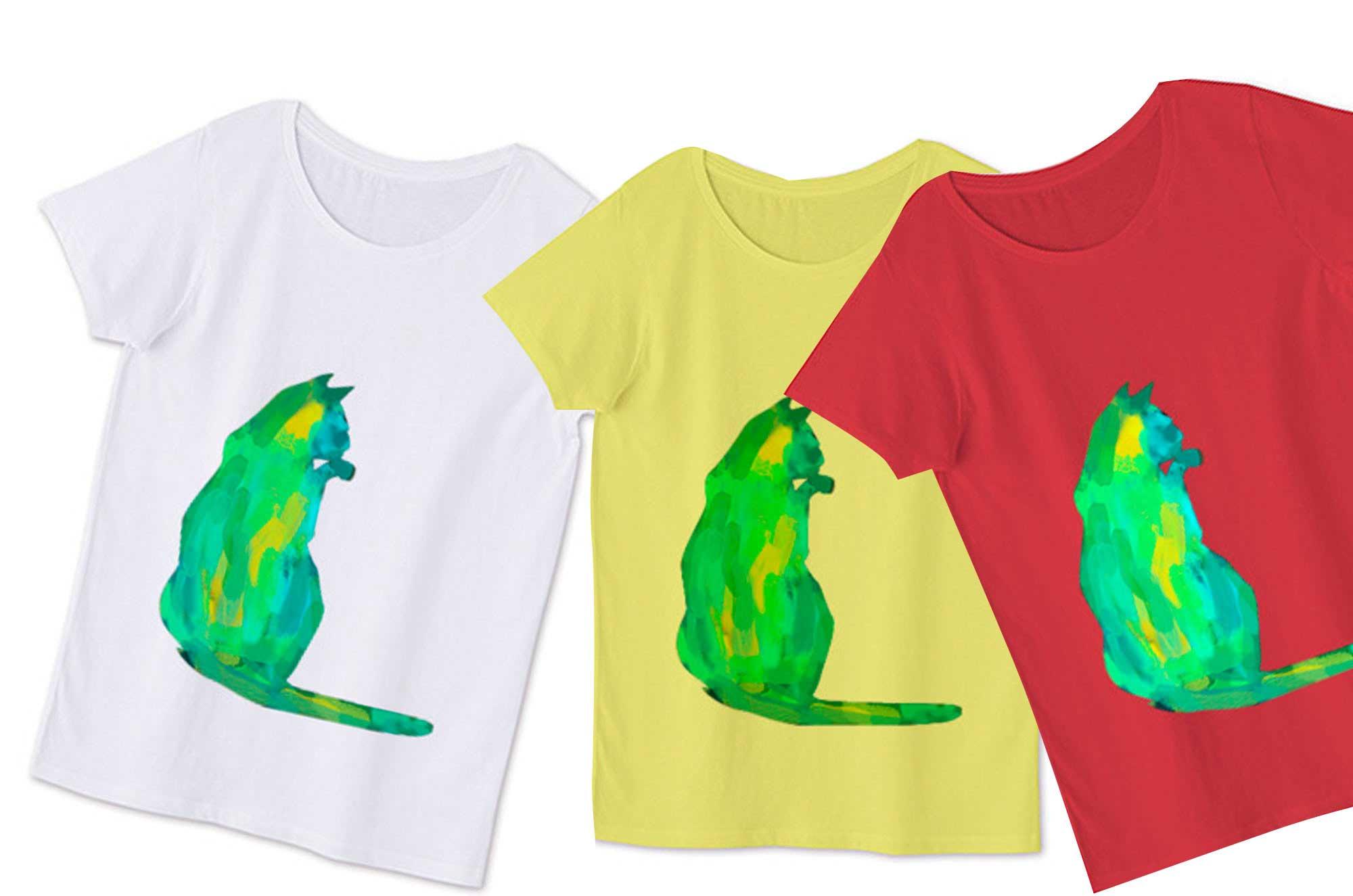 水彩のネコレディースTシャツ