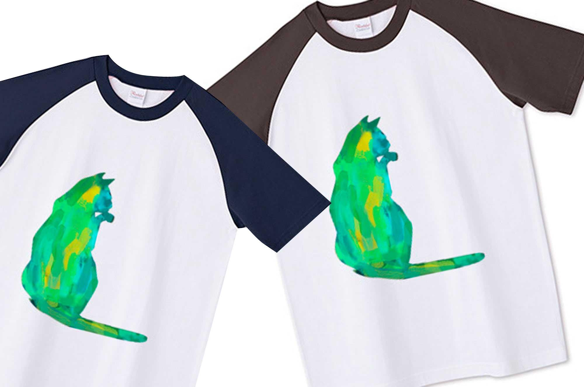 ラグランネコ水彩Tシャツ