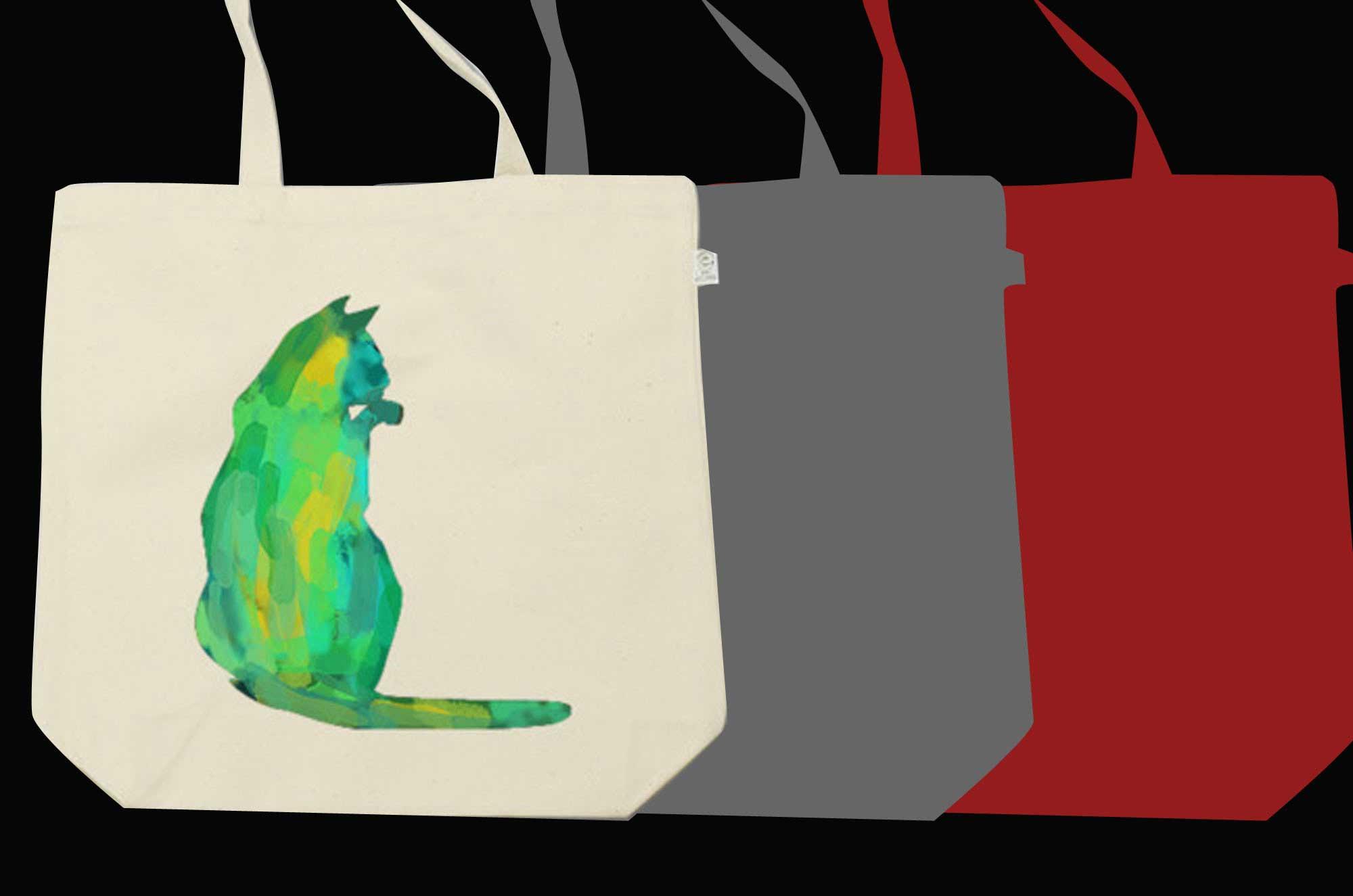 水彩絵の具のネコトートバッグ