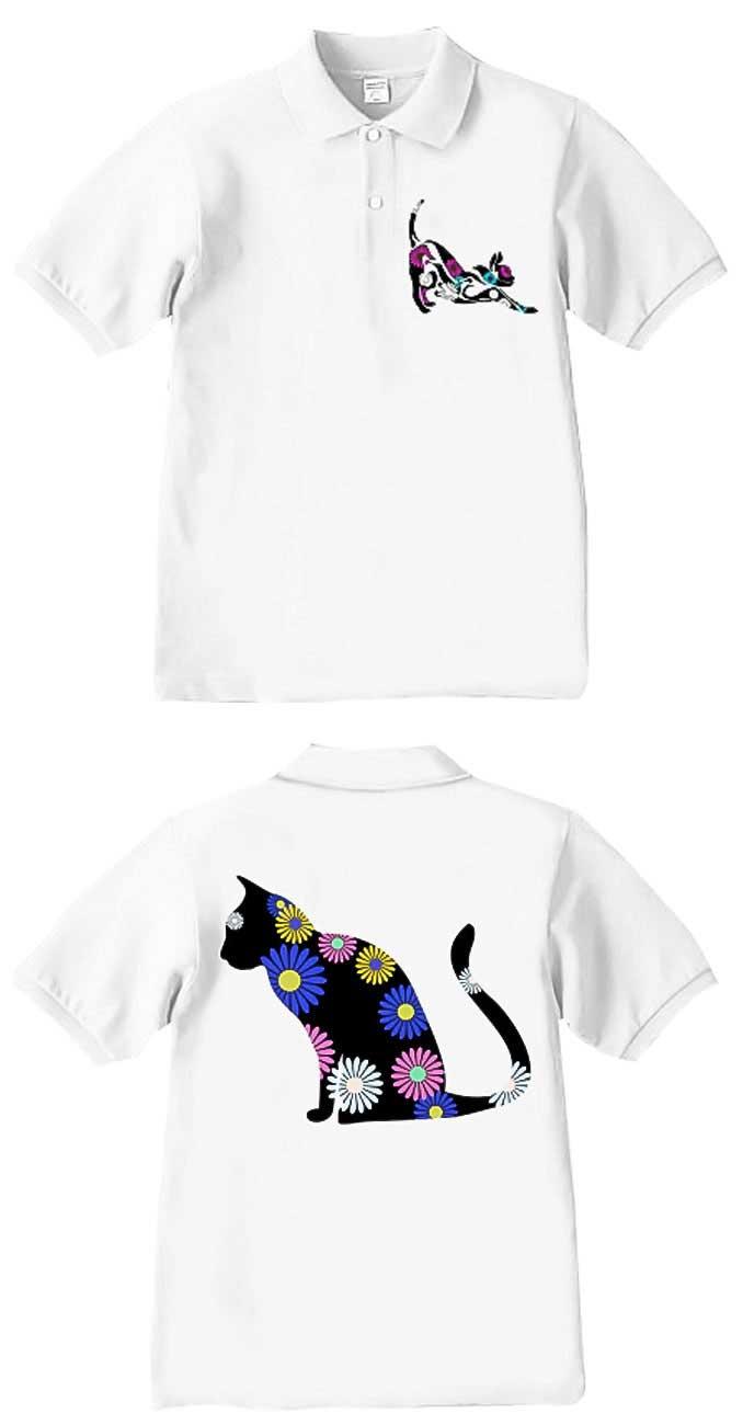 ネコとガーベラのおしゃれなシルエットポロシャツ