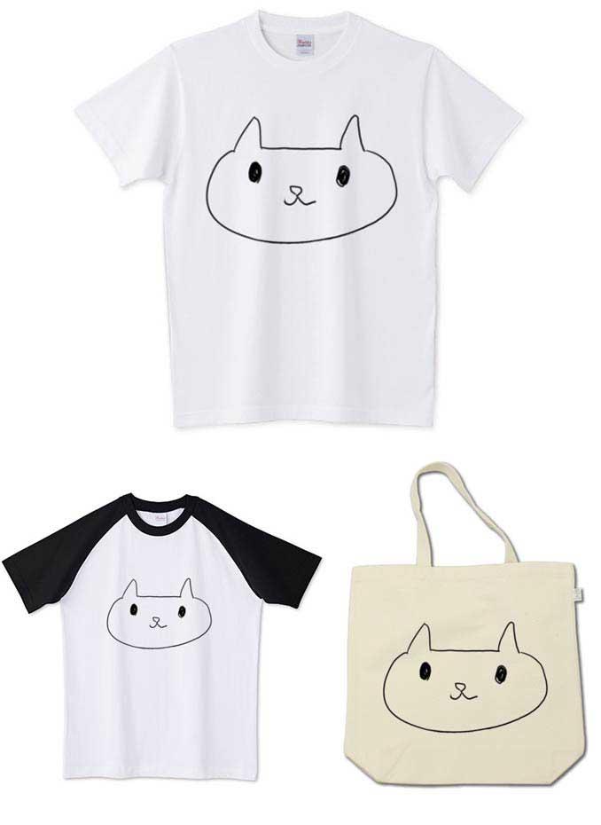 ネコの落書きデザインTシャツとトートバッグ