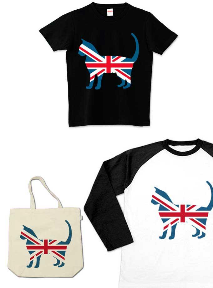 ユニオンジャック猫Tシャツのラグラン、トートバッグ、ノーマル