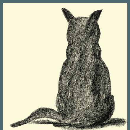 cat#1ねこの後ろ姿のラフ画の可愛い両面プリントデザインTシャツ