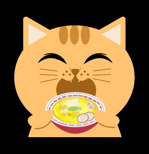 ラーメンを食べる猫のイラスト