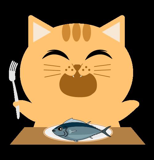 いただきますする猫のイラスト