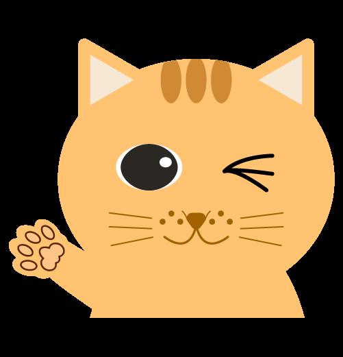 手を上げる猫(右)のイラスト