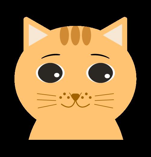 普通の顔の猫のイラスト