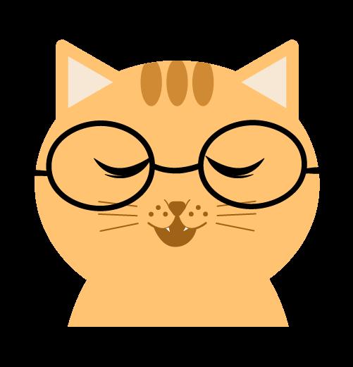 メガネをかけた猫のイラスト