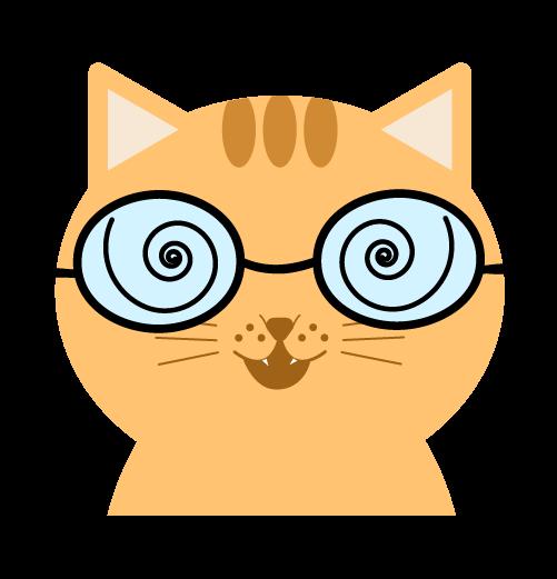 ガリ勉の猫のイラスト