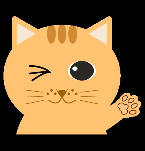 手を上げる猫(左)のイラスト
