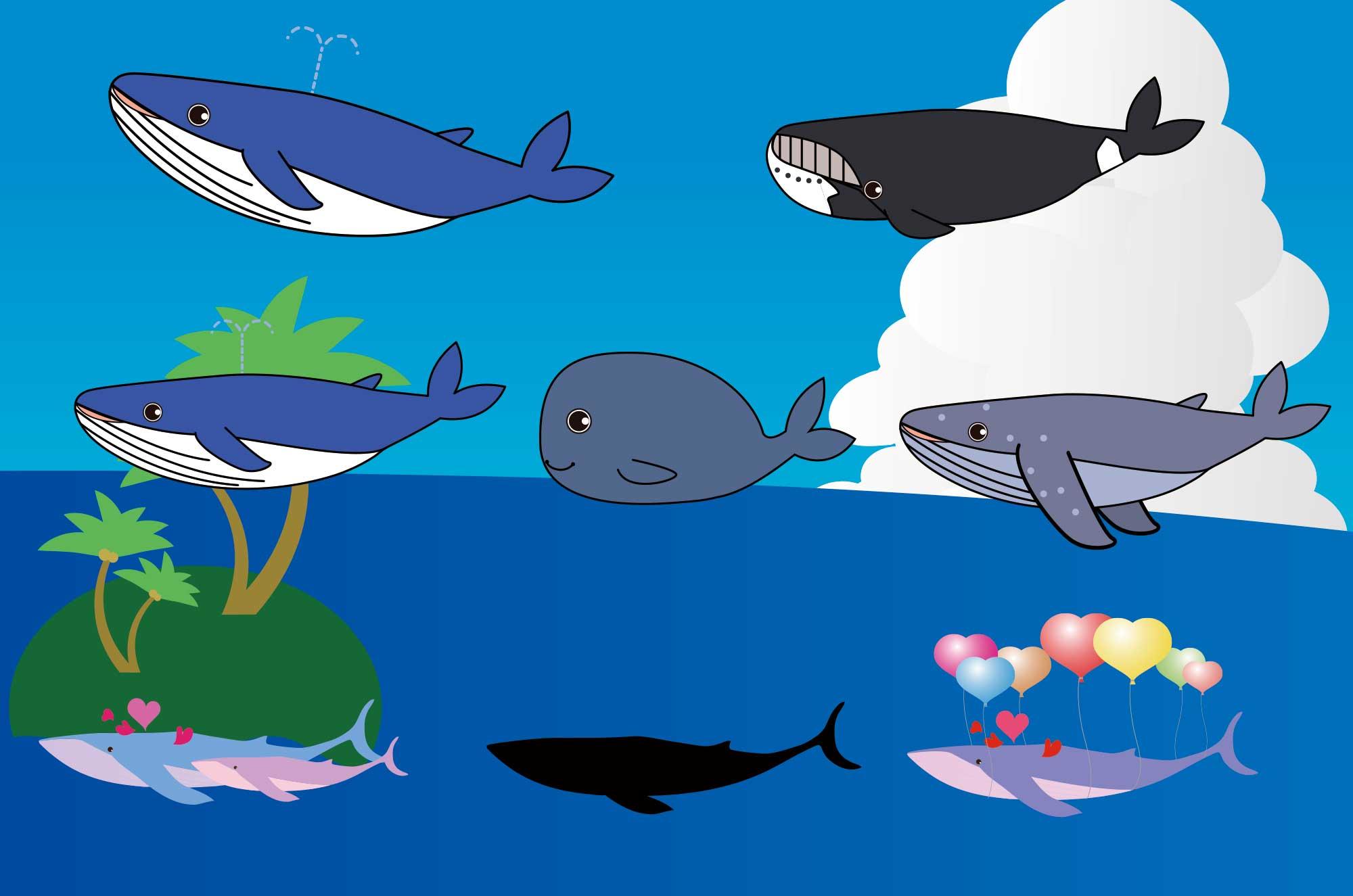 くじらのフリーイラスト  - シンプルで可愛い海の動物素材