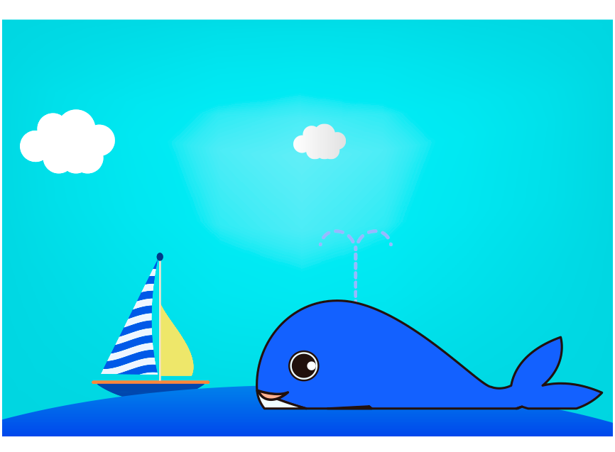 くじらと海とヨットのイラスト