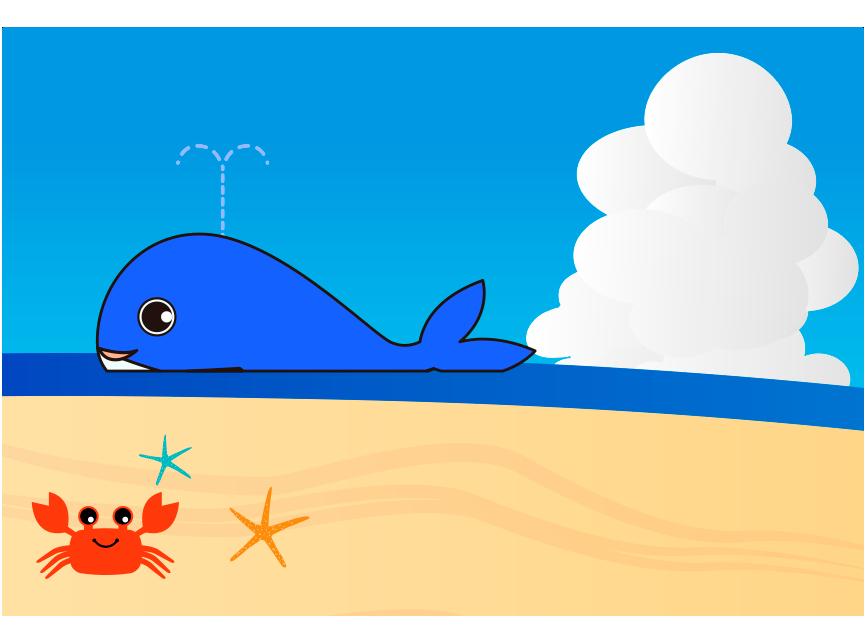 くじらと砂浜とカニのイラスト
