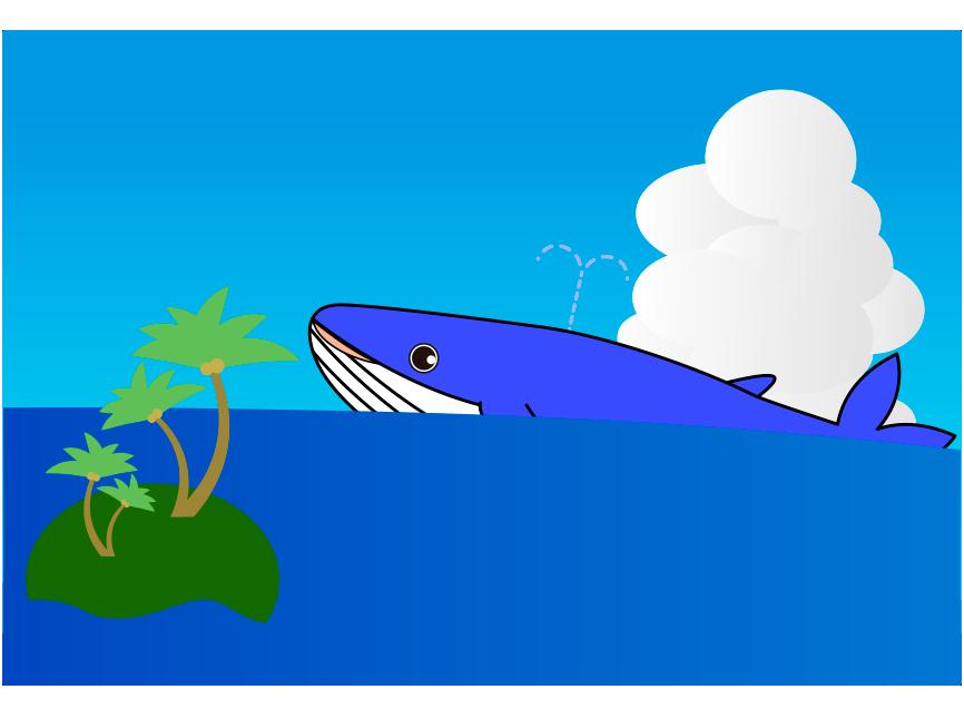 くじらと無人島と海のイラスト