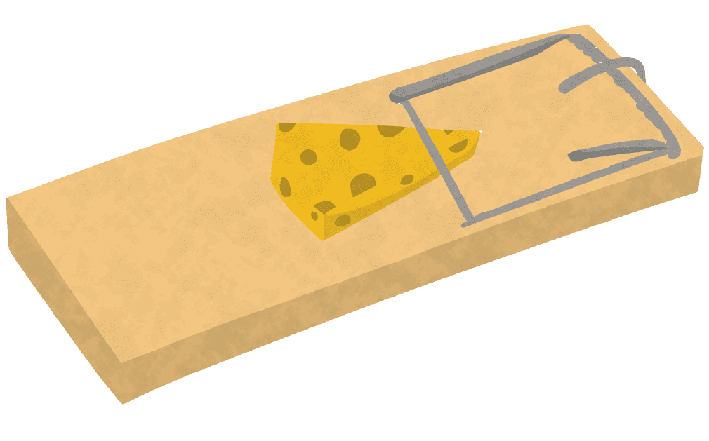 ねずみ取りとチーズイラスト