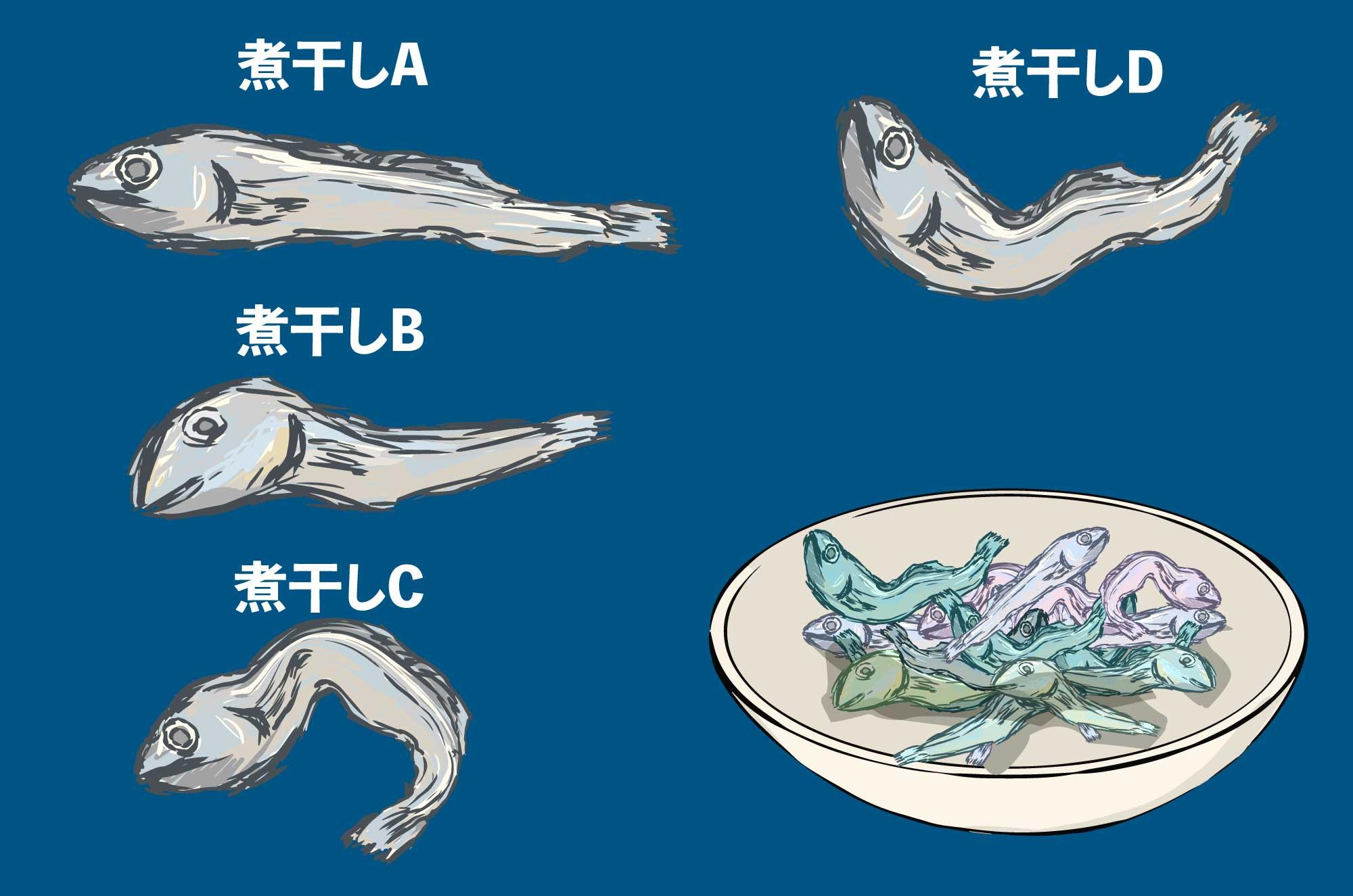 煮干しのフリーイラスト - A〜Dの和の食材の素材
