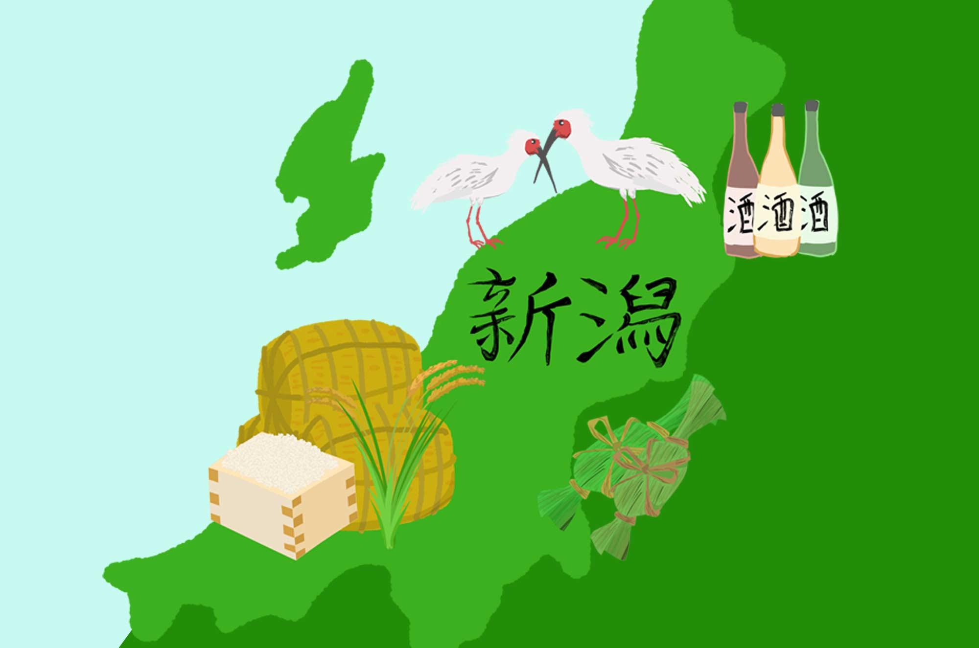 新潟のイラスト - 笹団子やお酒・お米などの名産無料素材